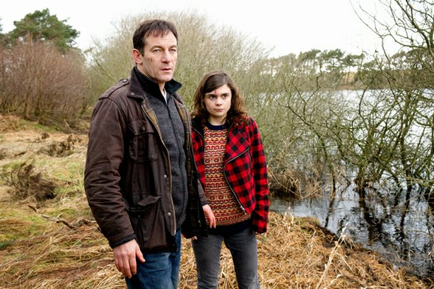 "Jason Isaacs as Jackson Brodie and Gwyneth Keyworth as Reggie in ""Case Histories."""