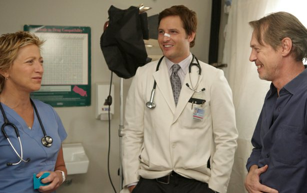 Edie Falco, Peter Facinelli and Steve Buscemi on the set of the critically acclaimed series NURSE JACKIE, featured in AMERICA IN PRIMETIME.