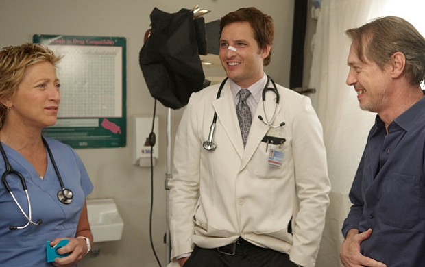 Edie Falco, Peter Facinelli and Steve Buscemi on the set of the critically ac...