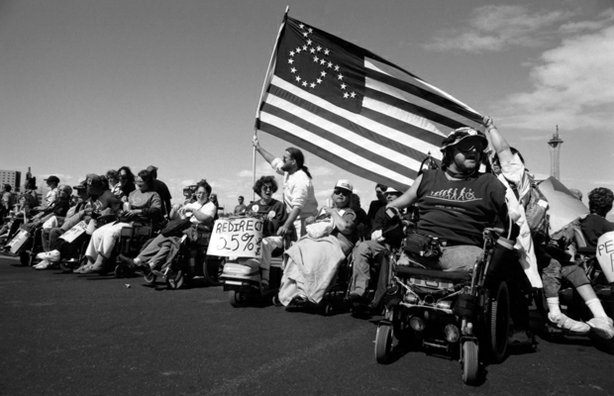 ADAPT protesters in Las Vegas, 1993.