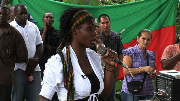 Francia Márquez, leader of the Afro-Colombian community of La Toma, Suarez, delivers a speech at a government meeting on May 26, 2010. The community faces the threat of eviction from their ancestral lands due to authorization of mining licenses without their prior consultation.