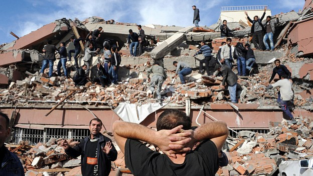 A major earthquake collapsed several buildings in eastern Turkey, trapping an...