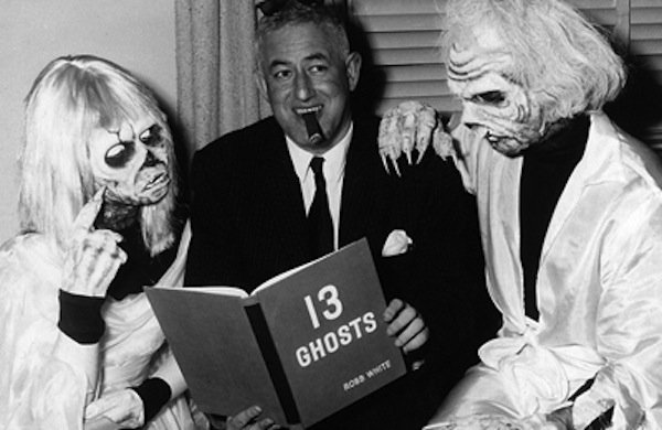 William Castle in a promotional photo for '13 Ghosts.""