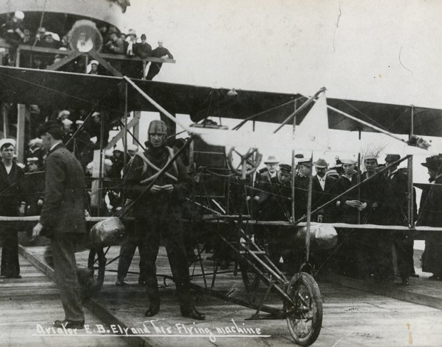 In 1911, Eugene Ely becomes the first to lift off and land on the deck of a a...