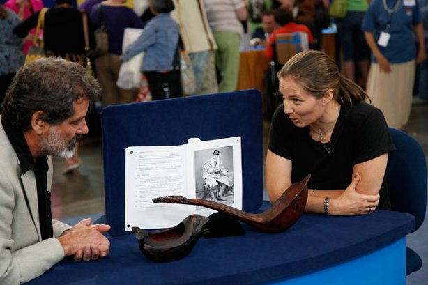 "At ""Antiques Roadshow"" in San Jose, California, this guest (right) brings in ..."