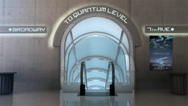 """CGI from """"The Fabric Of The Cosmos: Quantum Leap"""" showing an entrance to Quan..."""