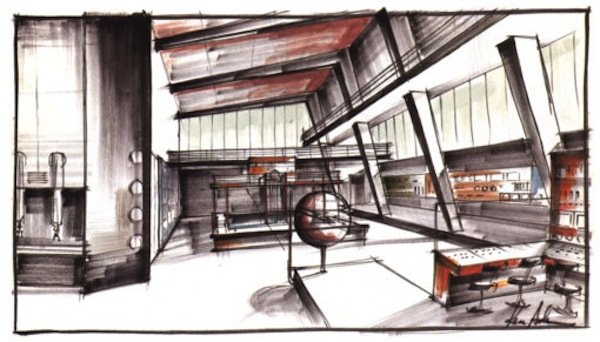 One of the drawings for Ken Adams' sets for