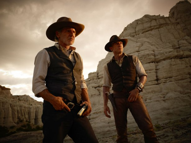 "Daniel Craig and Harrison Ford star in the sci-fi/ western flick, ""Cowboys & Aliens."""