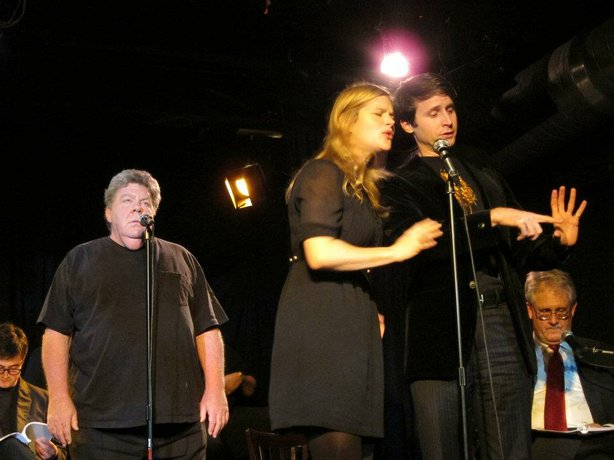 "George Wendt, Rachel Avery, and Jesse Merlin in ""Re-Animator the Musical Songbook Performance"" on December 16."