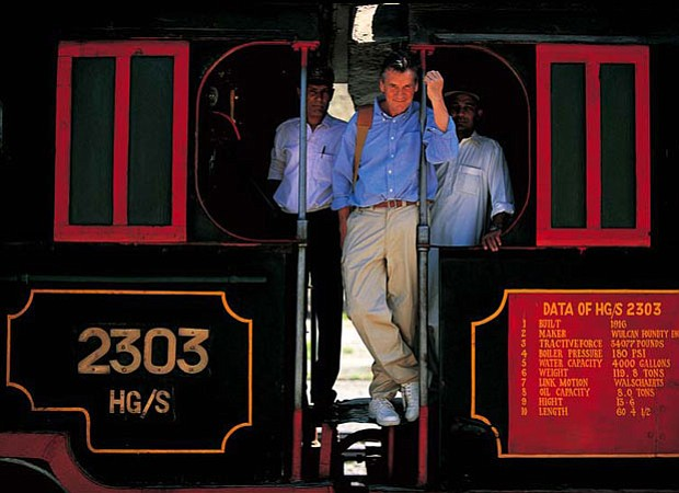 Michael Palin on the footplate, Khyber Railway