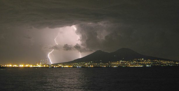 Vesuvius during lightning storm.