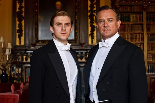 Shown from L-R: Dan Stevens as Matthew Crawley and Hugh Bonneville as Lord Gr...