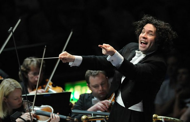 Promotional photo of Los Angeles Philharmonic's charismatic conductor, Gustav...