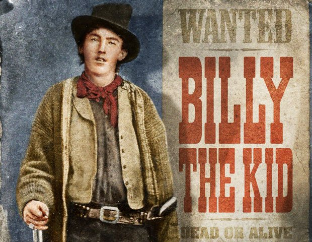 Henry McCarty, alias Billy the Kid with wanted dead or alive poster.
