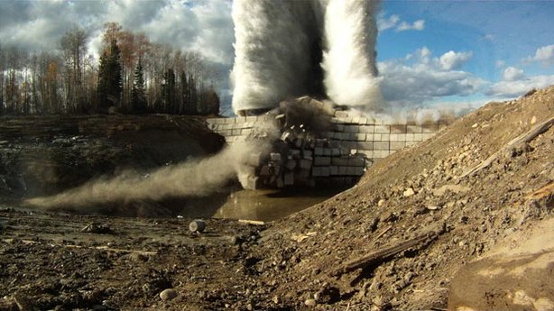 "Blowing the dam at a test site in Canada, from NOVA's ""Bombing Hitler's Dams."""