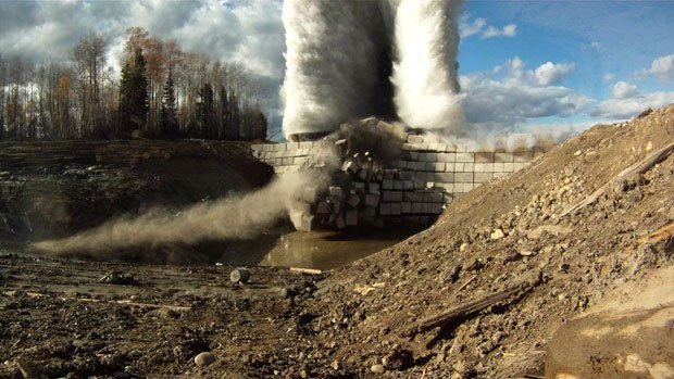 Blowing the dam at a test site in Canada, from NOVA's