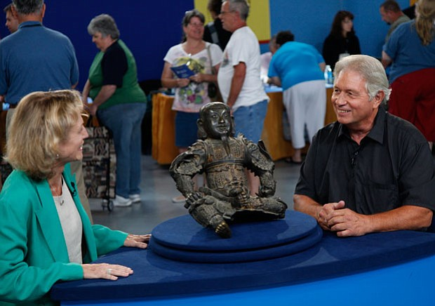 At ANTIQUES ROADSHOW in Tulsa, Oklahoma, appraiser Dessa Goddard admires this...