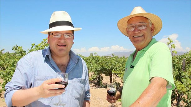 Host Jorge Meraz gets a tour with owner David Bibayoff Dalgoff at the Russian vineyard and winery Bibayoff in Valle de Guadalupe.