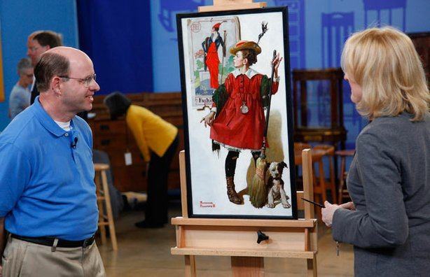 Appraiser Nan Chisholm evaluates an original 1919 Norman Rockwell painting, a...