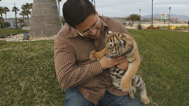 Host Jorge Meraz gets a rare chance to hold a baby tiger at the Tijuana Zoo.