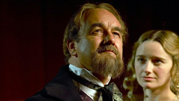 """Charles Dance as British novelist Charles Dickens and Sarah Aspinall as Nelly Ternan in """"Dickens' Secret Lover."""""""