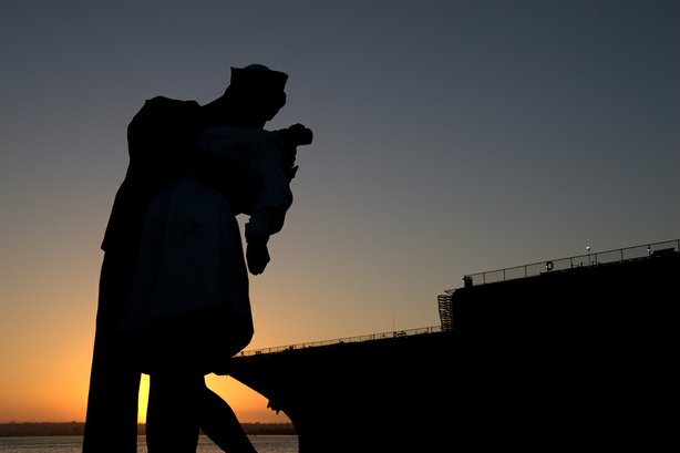 """Unconditional Surrender,"" by J. Seward Johnson, is a depiction of a famous 1945 Life magazine photograph taken in Times Square in New York when the end of World War II was announced."