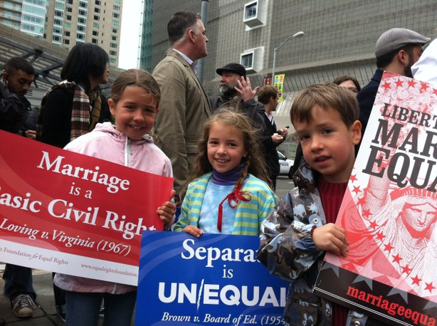 At an anti-Prop 8 rally before the Feb. 7, 2012 hearing.