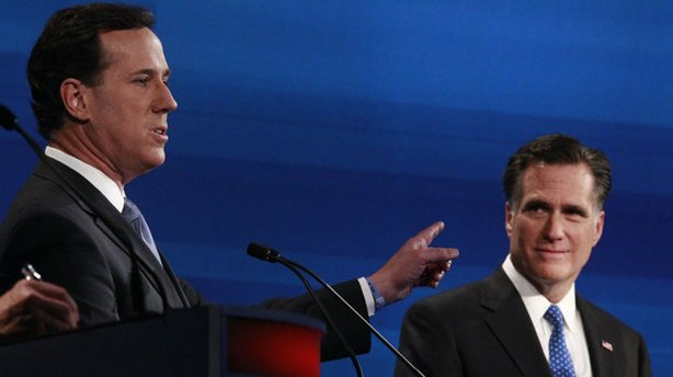 Rick Santorum gestures toward Republican rival Mitt Romney during the South Carolina GOP presidential debate in Myrtle Beach on Jan. 16.