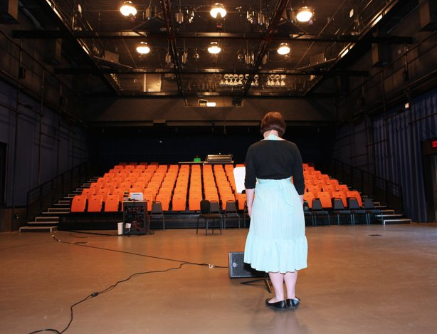 UCSD graduate student Jessica Aszodi rehearses in the theater where she'll perform one of the toughest vocal works in contemporary music.