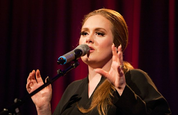 British sensation Adele performs for a small group of lucky fans at the Santa...