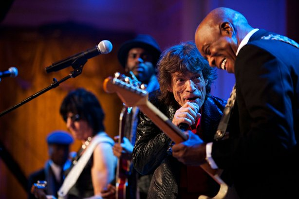 Mick Jagger sings and Buddy Guy plays guitar as President Barack Obama and Fi...