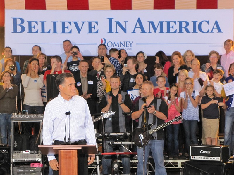 Republican presidential candidate Mitt Romney made a campaign stop in Mesa, A...