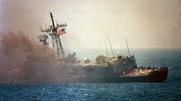 An Iraqi jet fired missiles that hit the USS Stark in the Persian Gulf in 198...