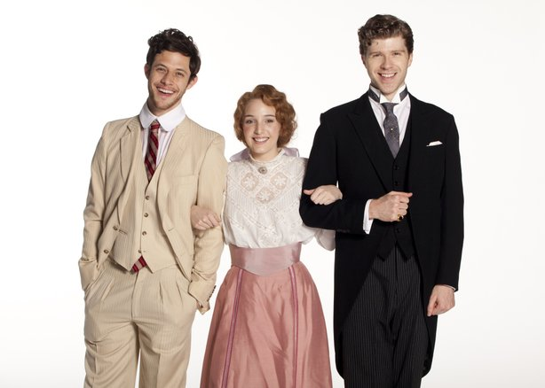 (from left) Kyle Harris stars as George Emerson, Ephie Aardema as Lucy Honeychurch and Will Reynolds as Cecil Vyse in the World Premiere of A Room with a View, a new musical with book by Marc Acito, music and lyrics by Jeffrey Stock, additional lyrics by Acito, directed by Scott Schwartz, March 2 - April 8, 2012 at The Old Globe. Photo by Henry DiRocco.