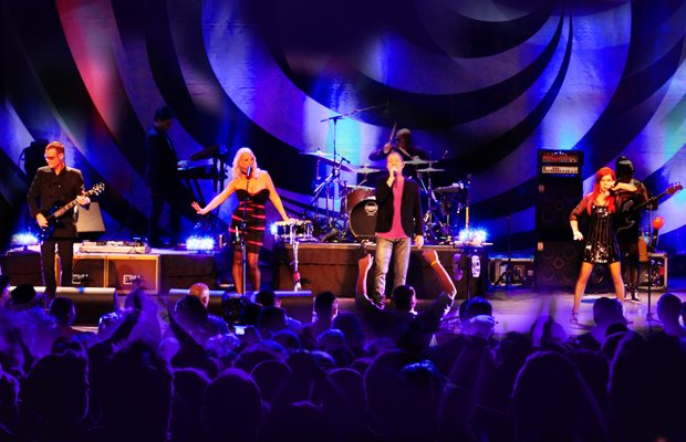The B-52s, left to right: Keith Strickland, Cindy Wilson, Fred Schneider and ...