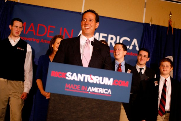 Santorum Holds Primary Night Party And Rally In Louisiana.