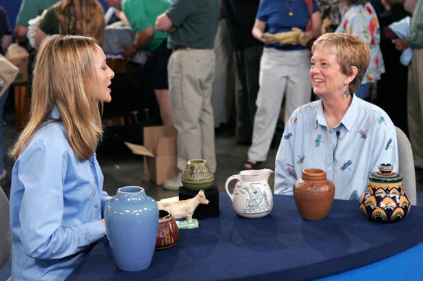 In this second hour from Bismarck, North Dakota, ANTIQUES ROADSHOW appraiser Suzanne Perrault of the Perrault-Rago Gallery (left) hits pay dirt with this collection of pottery from the University of North Dakota School of Mines. Featuring pieces crafted by instructors and students of this renowned school—including the owner's mother and grandmother—the set could bring $5,500 to $7,500 at auction.