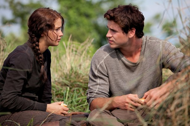 "Jennifer Lawrence and Liam Hemsworth in ""The Hunger Games."""