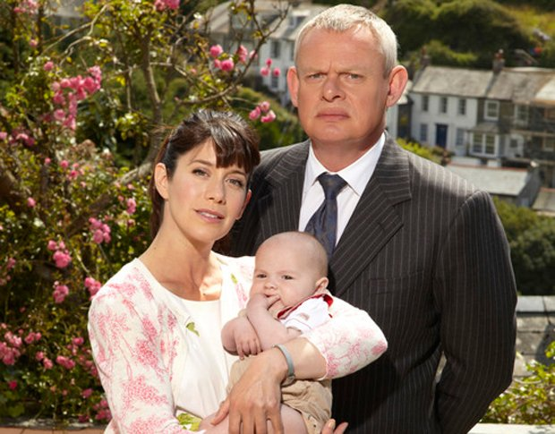 Caroline Catz as Louisa Glasson and Martin Clunes as Dr. Martin Ellingham and...