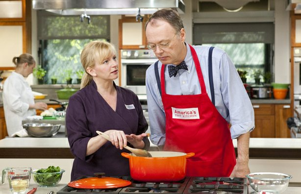 Test cook Bridget Lancaster in the kitchen with host Christopher Kimball.