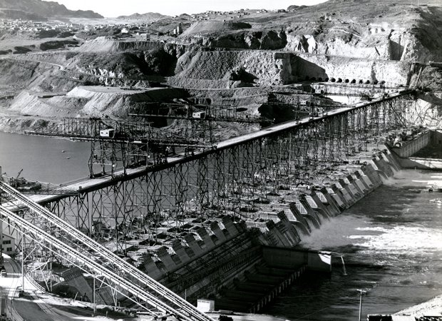 Grand Coulee Dam Construction looking at the spillway east to west.
