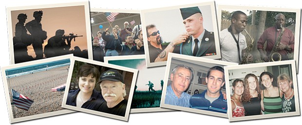 A graphic collage of veterans for the film
