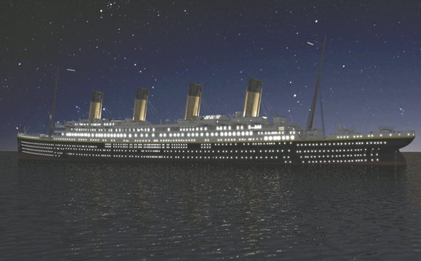 """The Titanic ship at night as seen in the film """"Saving The Titanic."""" Follow a dramatic interpretation of the Titanic's final hours, told from the point of view of the engineers below deck as they struggle to maintain power and keep the ship afloat to save as many lives as possible."""