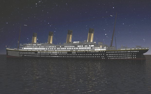 The Titanic ship at night as seen in the film