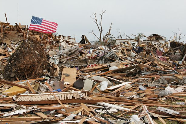 Joplin, Missouri post apocalyptic landscape after the April 2011 tornado outb...