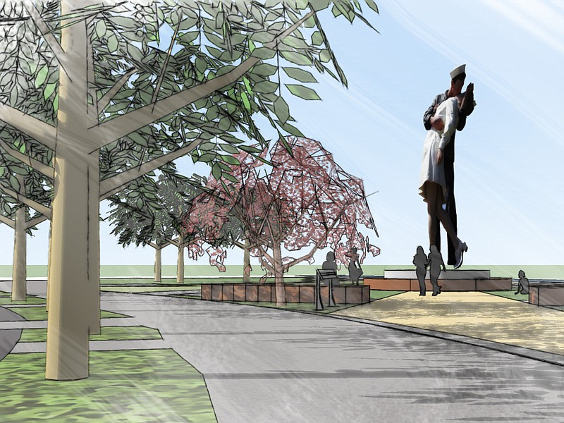 Architectural renderings of the permanent bronze version of Unconditional Sur...