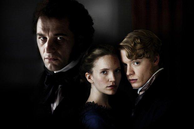 From left, John Jasper (Matthew Rhys), Rosa Bud (Tamzin Merchant) and Edwin D...
