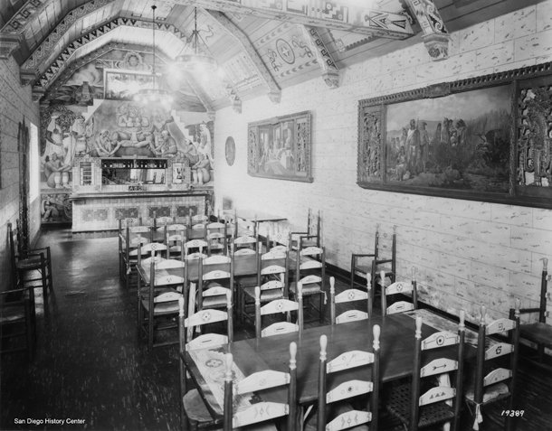 In the 1930s, the Aztec Brewing Co. rathskeller was a popular tasting room. The lavish decor included murals and a painted ceiling. Courtesy of San Diego History Center.