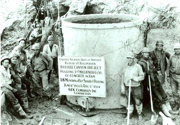 Photo of a dam crew. The Hoover Dam, known as the Boulder Dam when completed ...