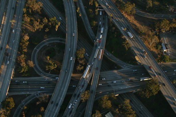 Traffic in Los Angeles. Using aerial footage, high-definition video and real-...